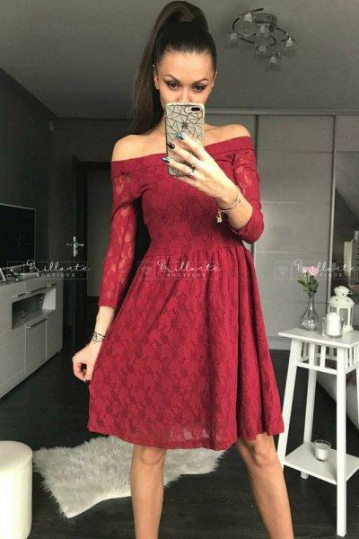 Sukienka Koronkowa Rozkloszowana Bordo