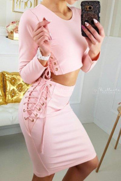 Spódnica gold straps pudrowy róż