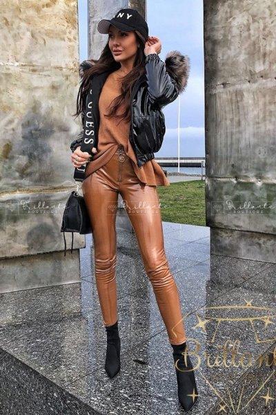 Spodnie Latex Zip Camel ocieplane