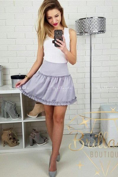 Szara pastelowa spódniczka
