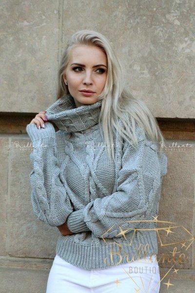 Sweter velvet szary