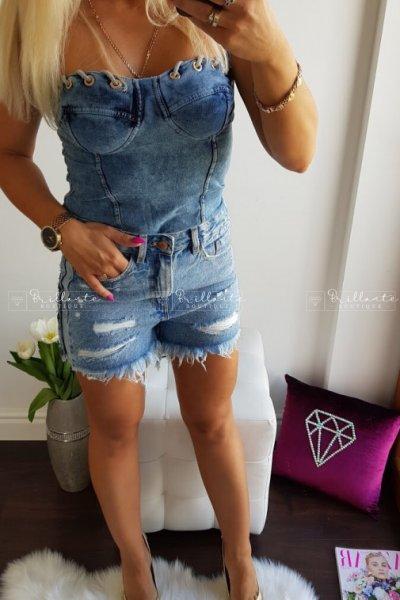 Gorset wiązany na biuście jeans