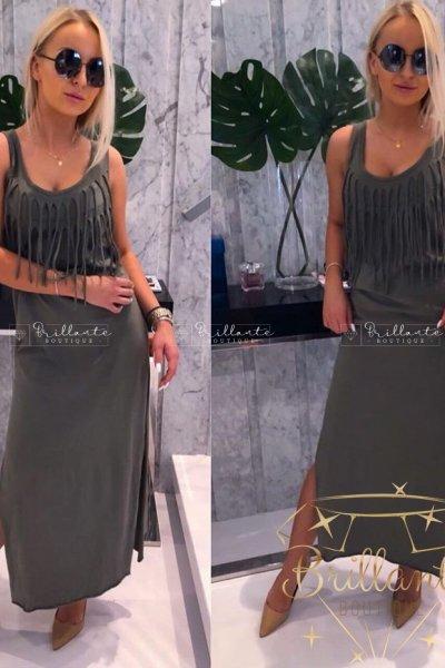 Sukienka Maxi Khaki z frędzelkami