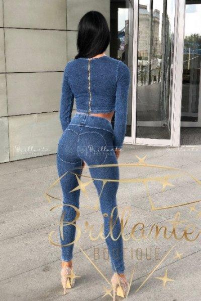 Legginsy Push Up Serca Jeans Niebieskie