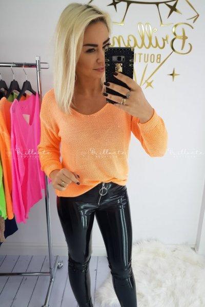 Ażurowy Sweter Neon Orange