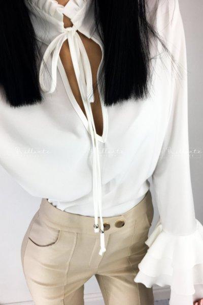 Wiązana bluzka DABBIE biała