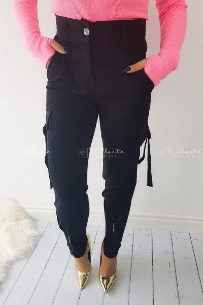 spodnie bojówki z zamkami black