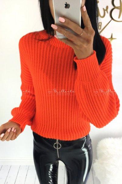 Neonowy sweter MIA pomarańcz