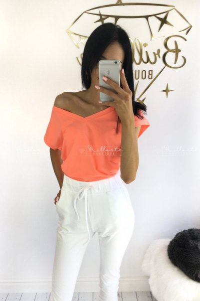 Tshirt V-neck neon pomarańczowy