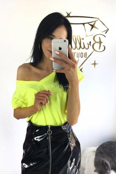 Tshirt V-neck neon żółty