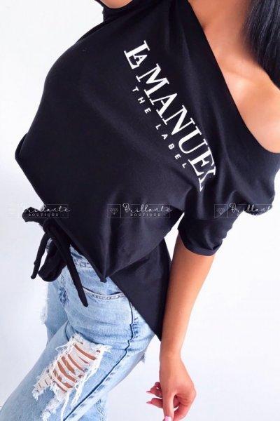 Tshirt LA MANUEL THE LABEL wiązany czarny