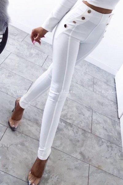 Spodnie Gold Buttons White