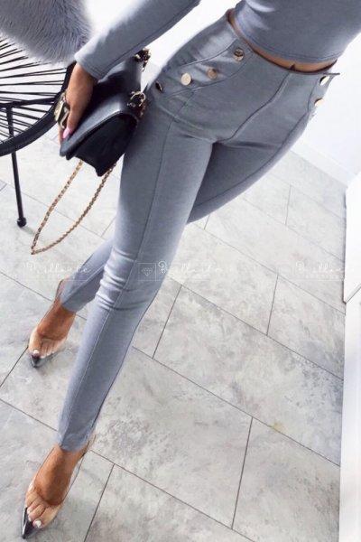 Spodnie Gold Buttons Grey