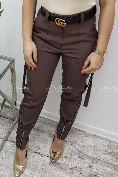 spodnie bojówki z zamkami chocolate
