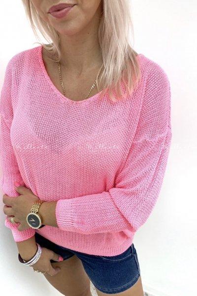 Ażurowy Sweter Neon Różowy
