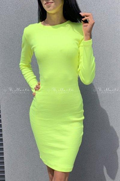 Sukienka prążkowana Pati Yellow Neon