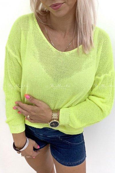 Ażurowy Sweter Neon Yellow