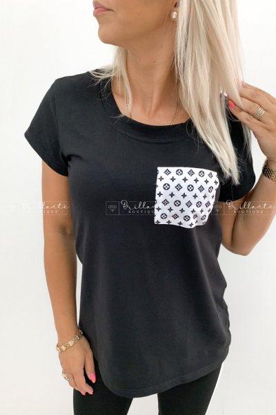 Tshirt z kiszonką LOUISE black