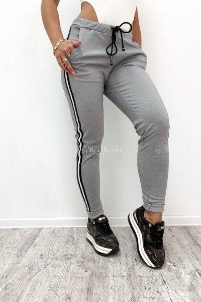 Spodnie z lampasem grey