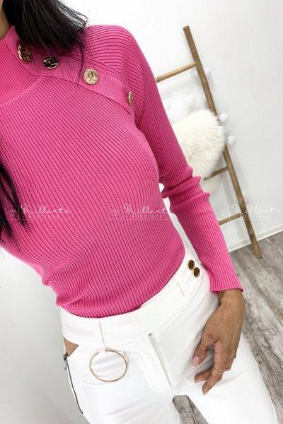 Prążkowany sweterek złote guziki amarant