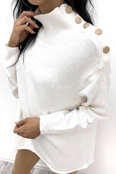 Sweterek z guzikami biały