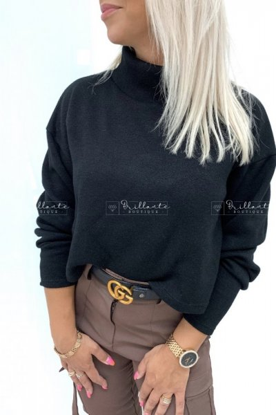 Sweterek z golfem BASIC czarny