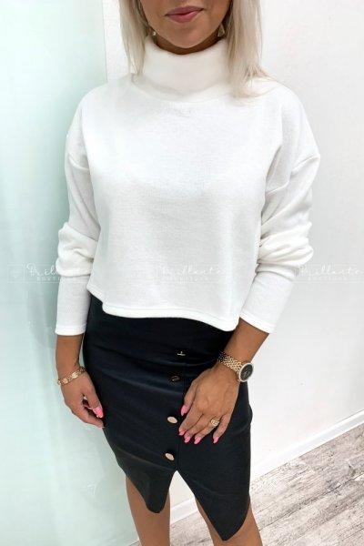 Sweterek z golfem BASIC biały