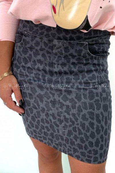 Spódnica jeans zip grey leopard