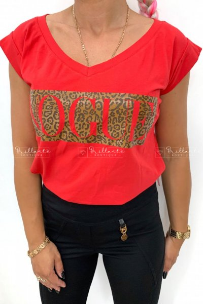 TSHIRT VOGUE LEOPARD RED