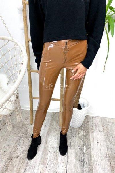 Spodnie lateksowe ocieplane Latex Zip CAMEL