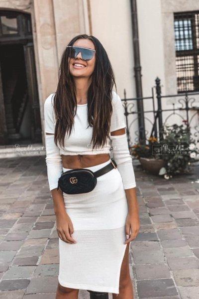 Komplet dzianinowy ze spódnica Milan biały