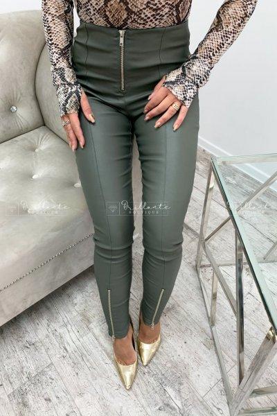 Woskowane spodnie tee khaki