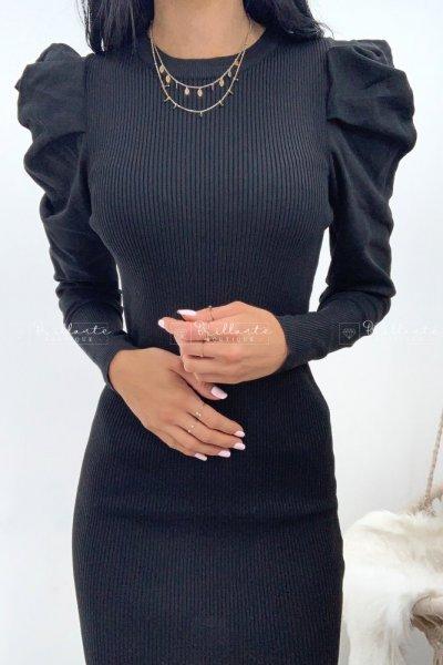 Dzianinowa sukienka z bufkami czarna