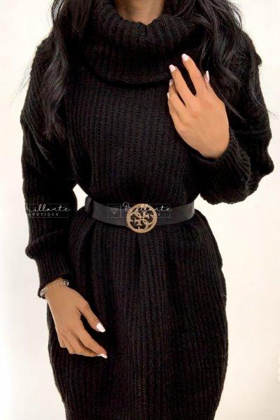 Sweterkowa sukienka z golfem czarna