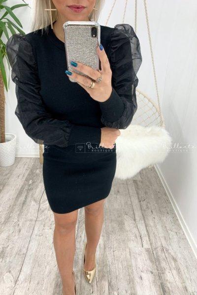 Sukienka dzianinowa z tiulowymi bufkami czarna
