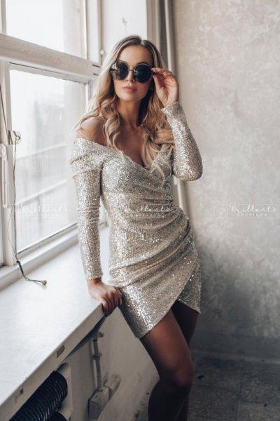 Sukienka cekinowa champaigne