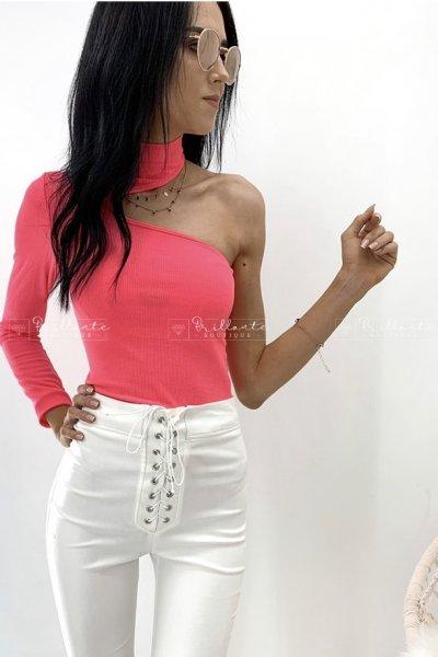 Body neon na jedno ramie pink
