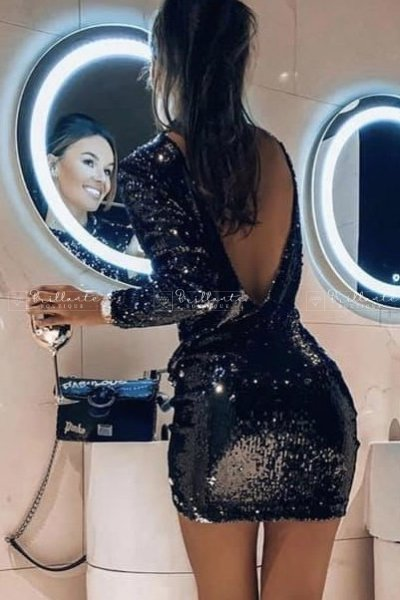 Sukienka dwustronne cekiny Glossy black