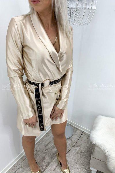 Satynowa sukienka LA Manuel Liquid Gold w kolorze złotym