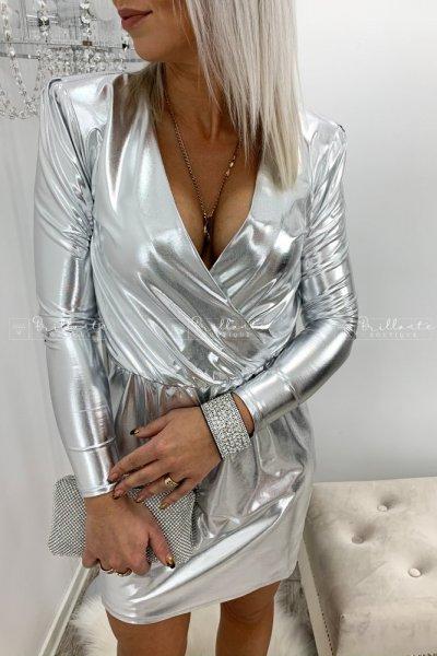 Metaliczna srebrna sukienka