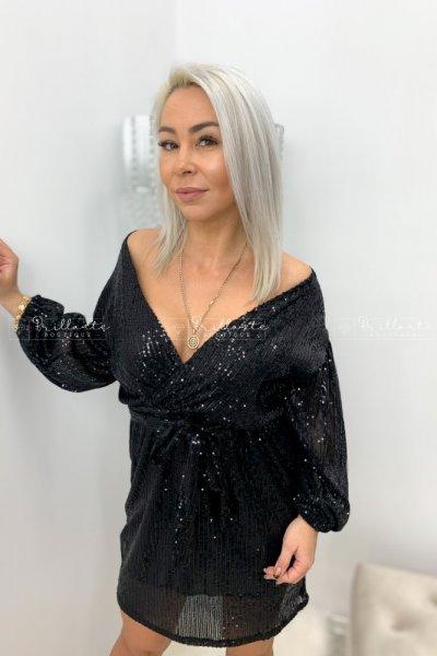 Sukienka wiązana w talii cekinowa czarna