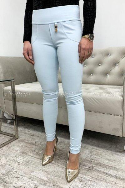 Błekitne legginsy push up pockets