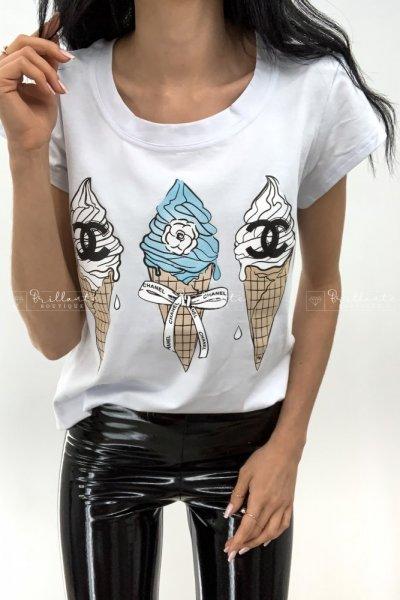 Koszulka Lody biała z niebieskim