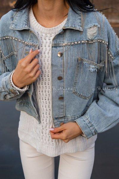 Jeansowa kurtka z frędzelkami i ćwiekami