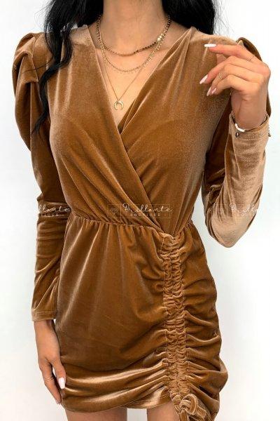 Sukienka welurowa z bufkami brązowa