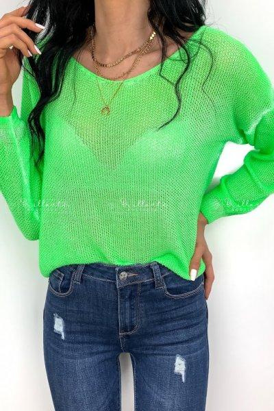 Ażurowy Sweter Neon Green
