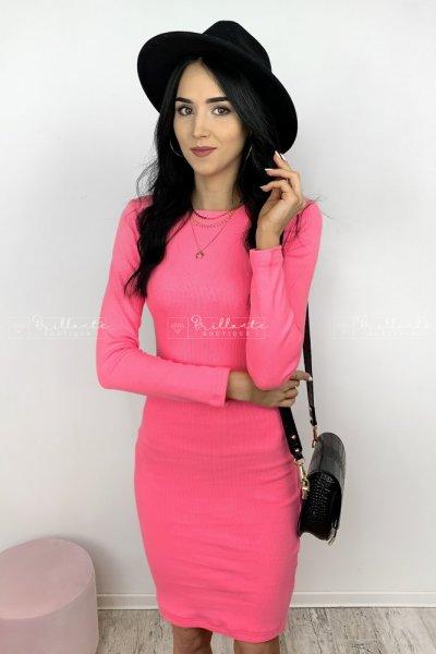 Sukienka prążkowana Pati Pink Neon